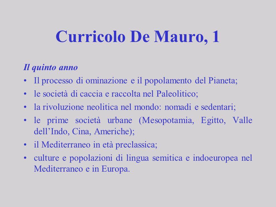 Curricolo De Mauro, 1 Il quinto anno Il processo di ominazione e il popolamento del Pianeta; le società di caccia e raccolta nel Paleolitico; la rivol
