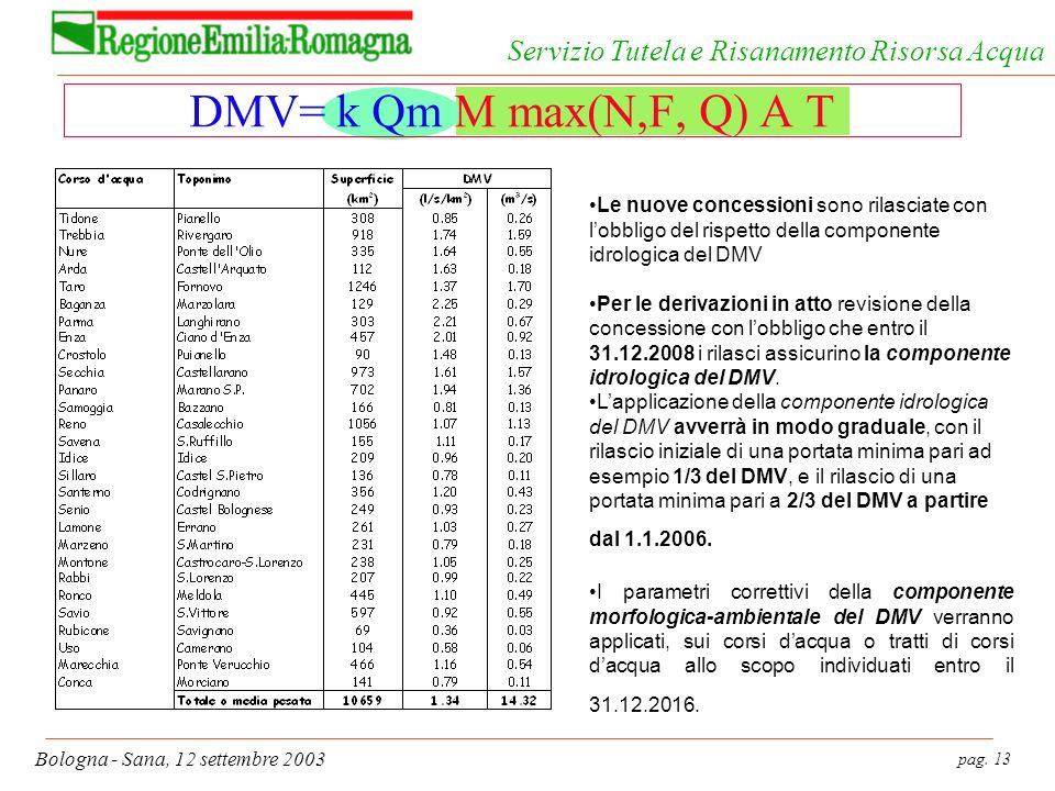 pag. 13 Bologna - Sana, 12 settembre 2003 Servizio Tutela e Risanamento Risorsa Acqua DMV= k Qm M max(N,F, Q) A T Le nuove concessioni sono rilasciate