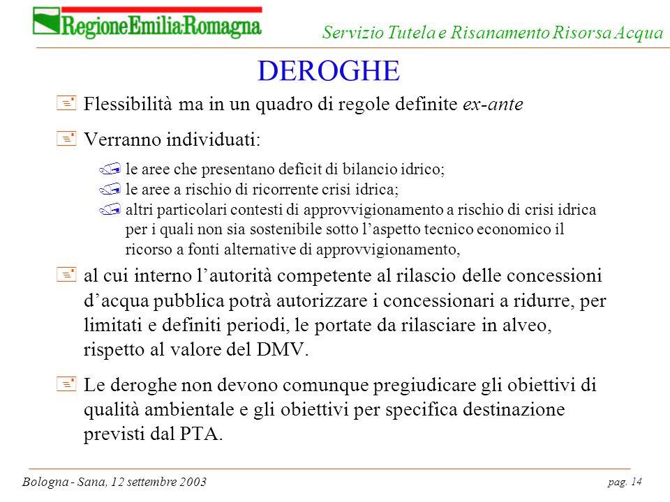 pag. 14 Bologna - Sana, 12 settembre 2003 Servizio Tutela e Risanamento Risorsa Acqua DEROGHE +Flessibilità ma in un quadro di regole definite ex-ante