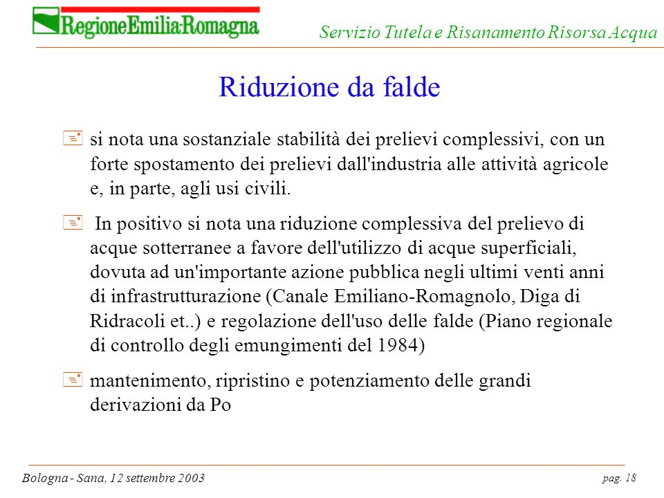 pag. 18 Bologna - Sana, 12 settembre 2003 Servizio Tutela e Risanamento Risorsa Acqua Riduzione da falde +si nota una sostanziale stabilità dei prelie