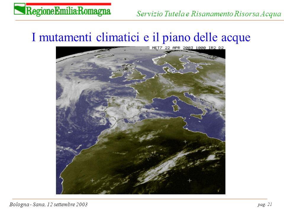 pag. 21 Bologna - Sana, 12 settembre 2003 Servizio Tutela e Risanamento Risorsa Acqua I mutamenti climatici e il piano delle acque
