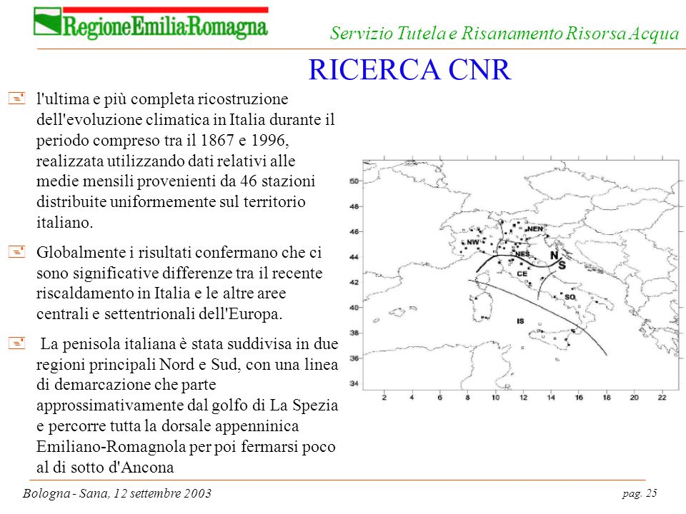 pag. 25 Bologna - Sana, 12 settembre 2003 Servizio Tutela e Risanamento Risorsa Acqua RICERCA CNR +l'ultima e più completa ricostruzione dell'evoluzio