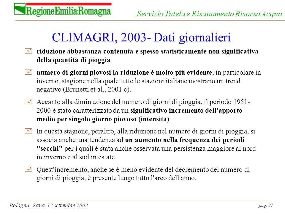 pag. 27 Bologna - Sana, 12 settembre 2003 Servizio Tutela e Risanamento Risorsa Acqua CLIMAGRI, 2003- Dati giornalieri +riduzione abbastanza contenuta