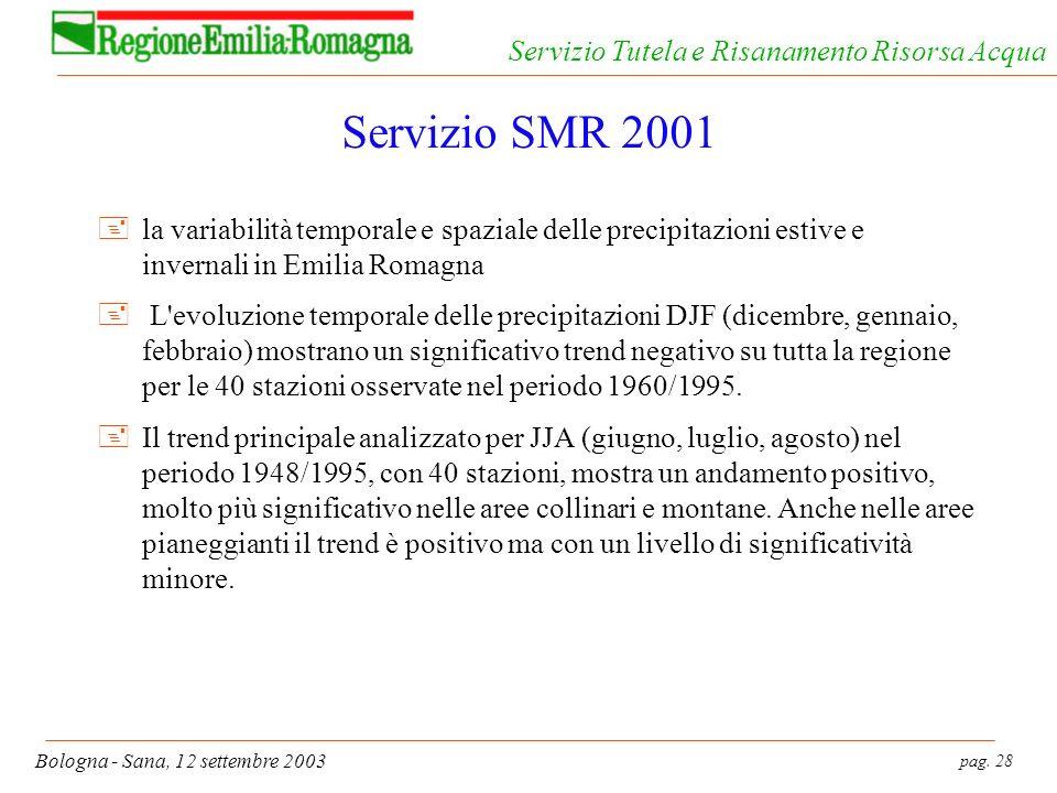 pag. 28 Bologna - Sana, 12 settembre 2003 Servizio Tutela e Risanamento Risorsa Acqua Servizio SMR 2001 +la variabilità temporale e spaziale delle pre