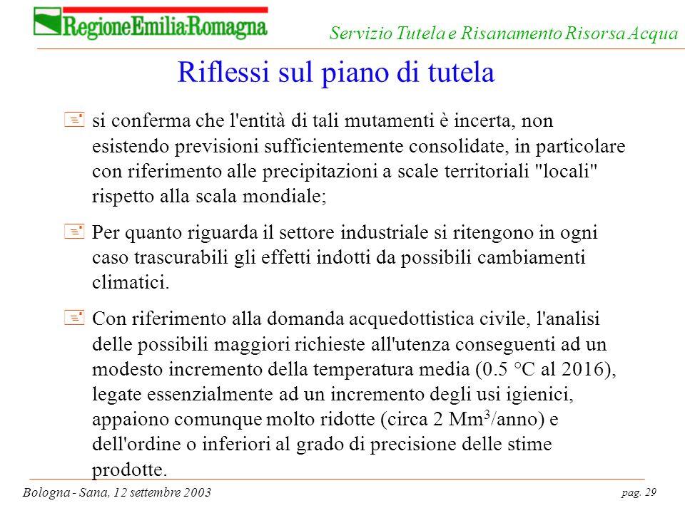 pag. 29 Bologna - Sana, 12 settembre 2003 Servizio Tutela e Risanamento Risorsa Acqua Riflessi sul piano di tutela +si conferma che l'entità di tali m