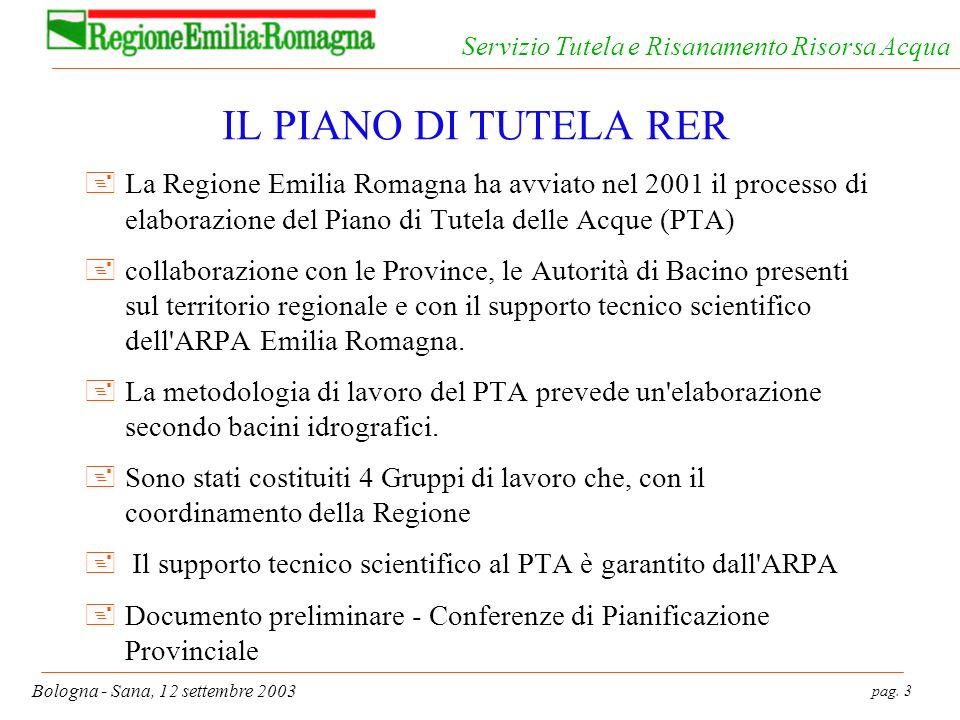 pag. 3 Bologna - Sana, 12 settembre 2003 Servizio Tutela e Risanamento Risorsa Acqua IL PIANO DI TUTELA RER +La Regione Emilia Romagna ha avviato nel
