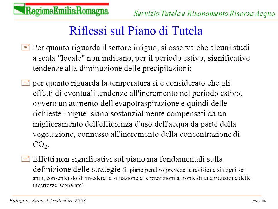 pag. 30 Bologna - Sana, 12 settembre 2003 Servizio Tutela e Risanamento Risorsa Acqua Riflessi sul Piano di Tutela +Per quanto riguarda il settore irr