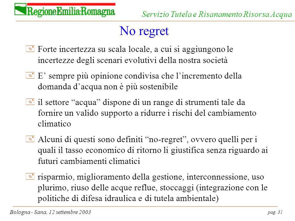 pag. 31 Bologna - Sana, 12 settembre 2003 Servizio Tutela e Risanamento Risorsa Acqua No regret +Forte incertezza su scala locale, a cui si aggiungono