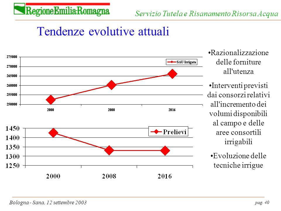 pag. 40 Bologna - Sana, 12 settembre 2003 Servizio Tutela e Risanamento Risorsa Acqua Tendenze evolutive attuali Razionalizzazione delle forniture all
