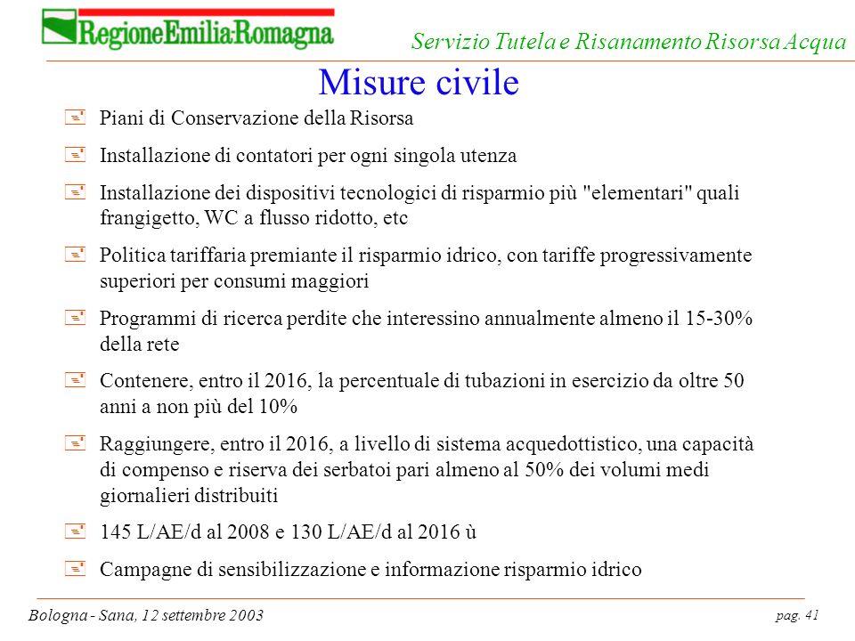 pag. 41 Bologna - Sana, 12 settembre 2003 Servizio Tutela e Risanamento Risorsa Acqua Misure civile +Piani di Conservazione della Risorsa +Installazio