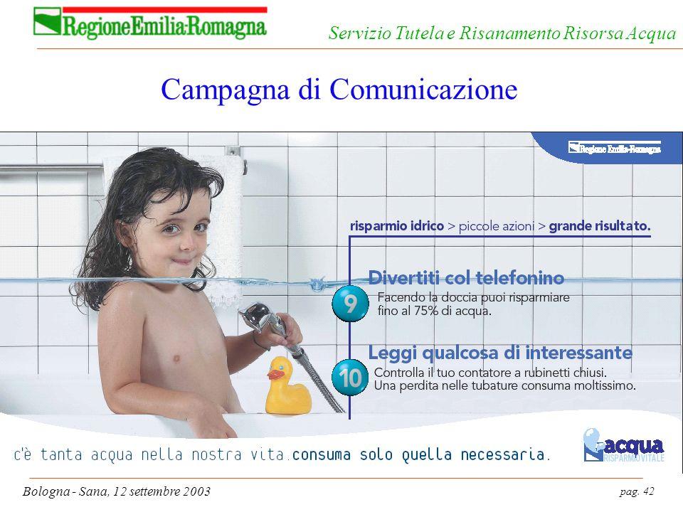 pag. 42 Bologna - Sana, 12 settembre 2003 Servizio Tutela e Risanamento Risorsa Acqua Campagna di Comunicazione