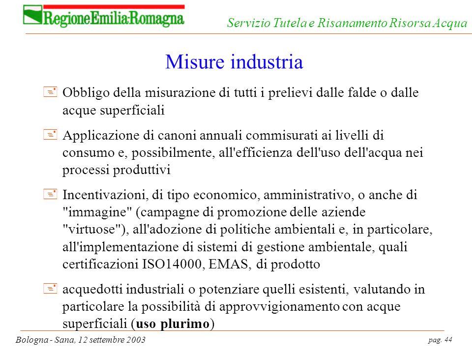 pag. 44 Bologna - Sana, 12 settembre 2003 Servizio Tutela e Risanamento Risorsa Acqua Misure industria +Obbligo della misurazione di tutti i prelievi