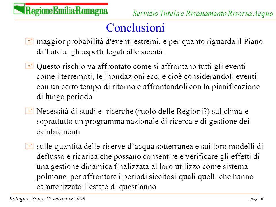 pag. 50 Bologna - Sana, 12 settembre 2003 Servizio Tutela e Risanamento Risorsa Acqua Conclusioni +maggior probabilità d'eventi estremi, e per quanto