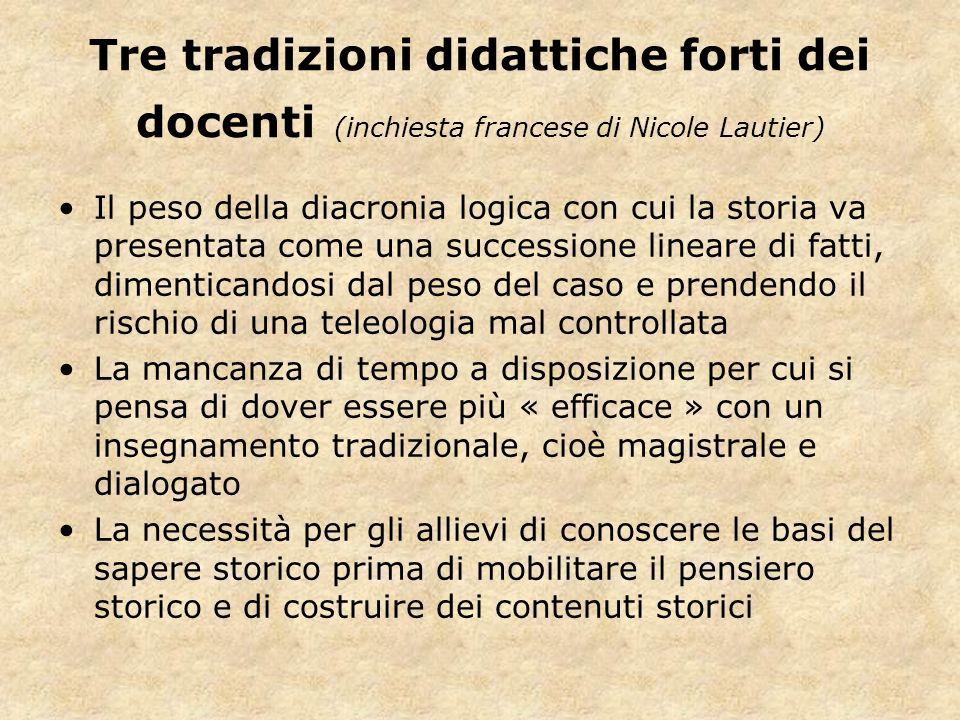 Tre tradizioni didattiche forti dei docenti (inchiesta francese di Nicole Lautier) Il peso della diacronia logica con cui la storia va presentata come