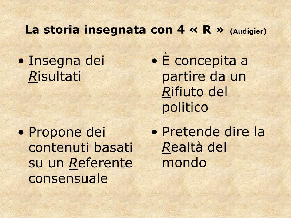 La storia insegnata con 4 « R » (Audigier) Insegna dei Risultati Propone dei contenuti basati su un Referente consensuale È concepita a partire da un