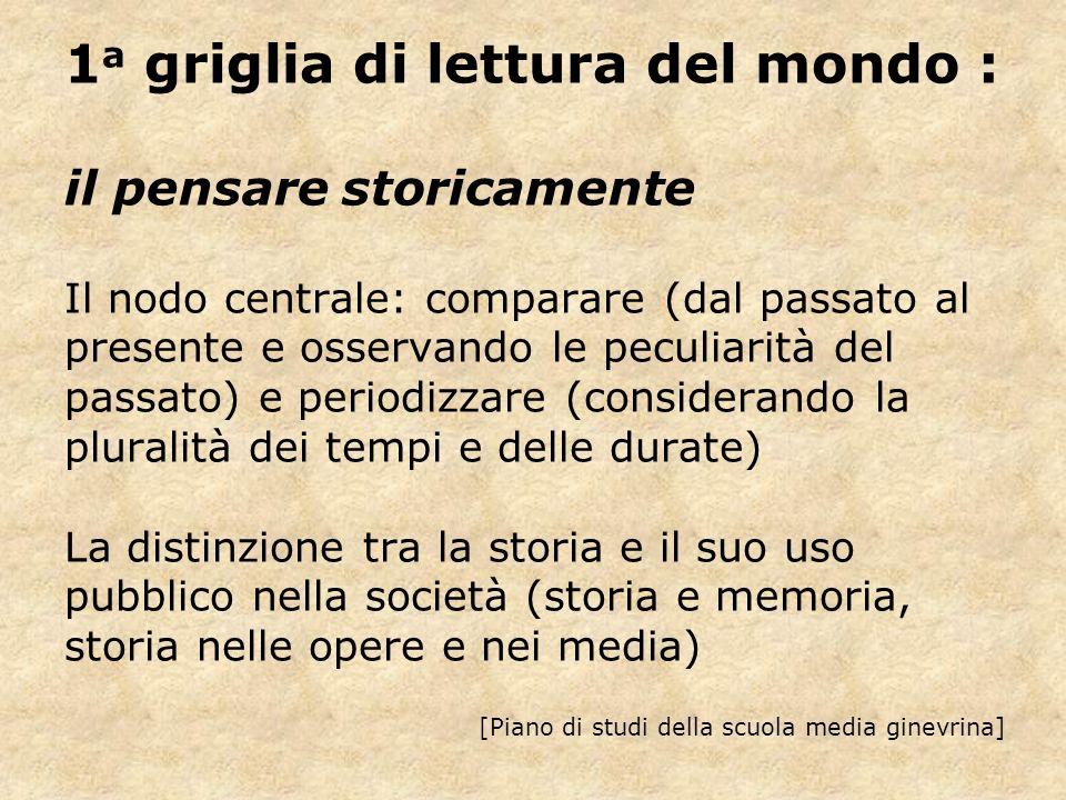 1 a griglia di lettura del mondo : il pensare storicamente Il nodo centrale: comparare (dal passato al presente e osservando le peculiarità del passat