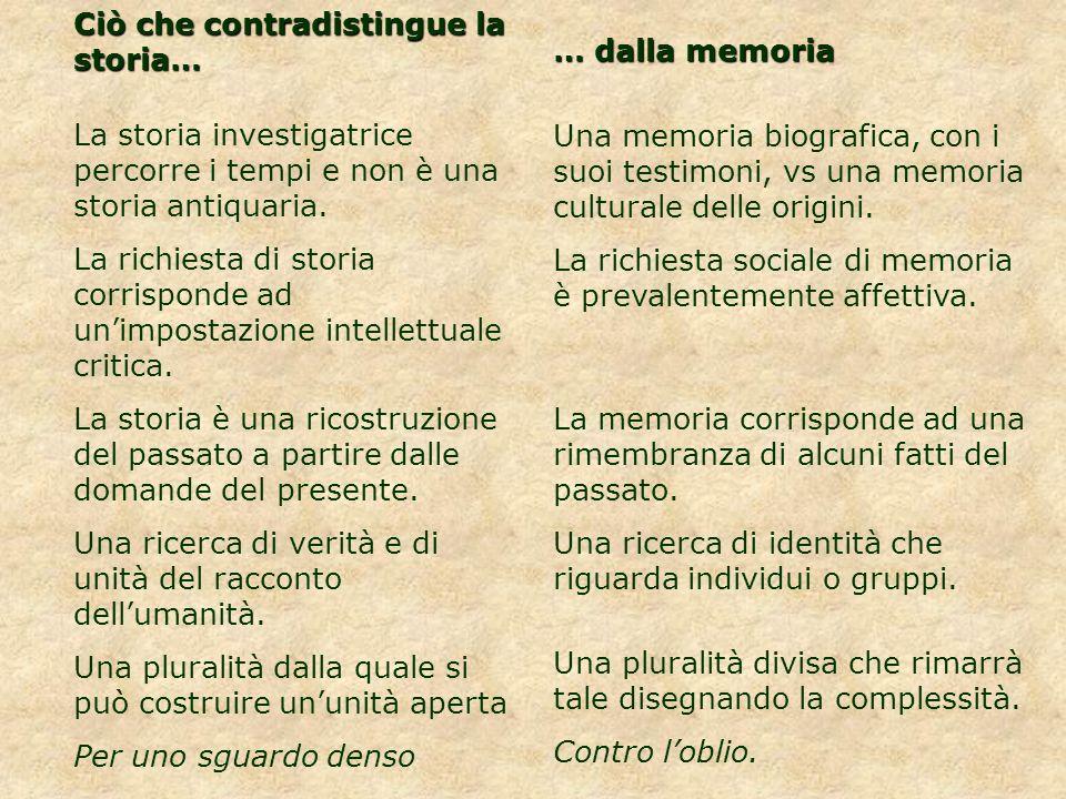 Ciò che contradistingue la storia… La storia investigatrice percorre i tempi e non è una storia antiquaria. La richiesta di storia corrisponde ad unim