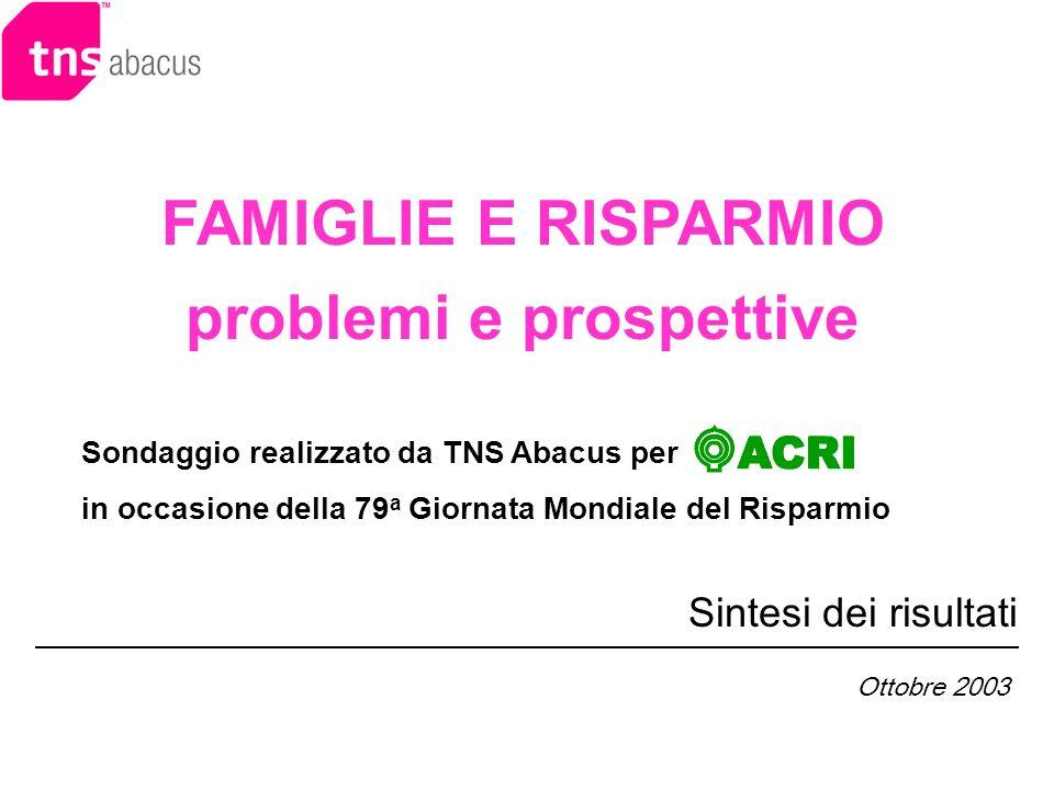 FAMIGLIE E RISPARMIO problemi e prospettive Sintesi dei risultati Sondaggio realizzato da TNS Abacus per in occasione della 79 a Giornata Mondiale del Risparmio Ottobre 2003