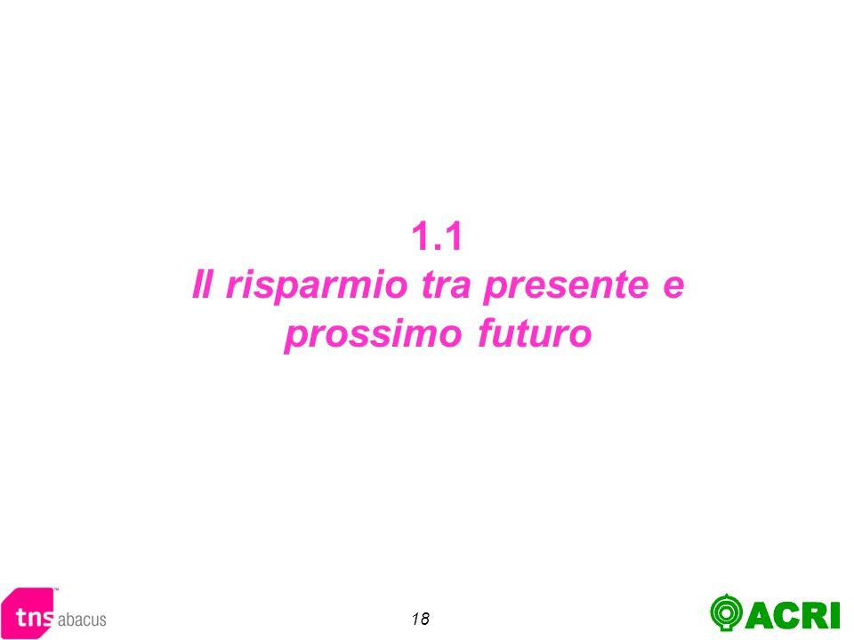 18 1.1 Il risparmio tra presente e prossimo futuro