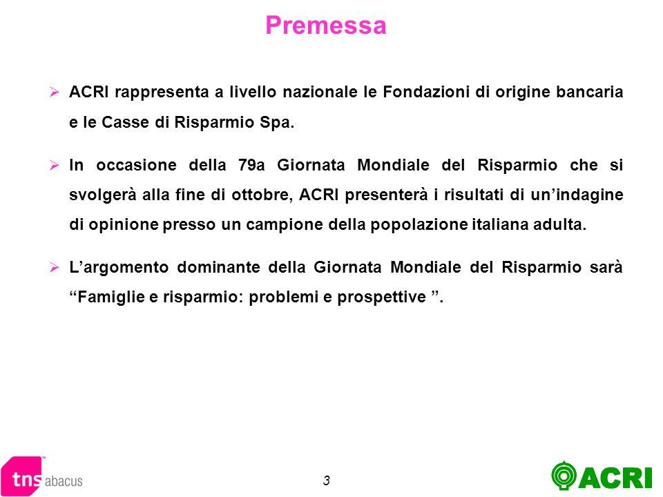 3 Premessa ACRI rappresenta a livello nazionale le Fondazioni di origine bancaria e le Casse di Risparmio Spa.