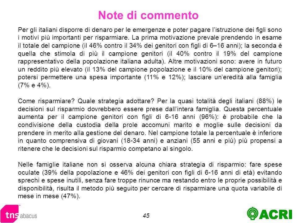 45 Per gli italiani disporre di denaro per le emergenze e poter pagare listruzione dei figli sono i motivi più importanti per risparmiare.