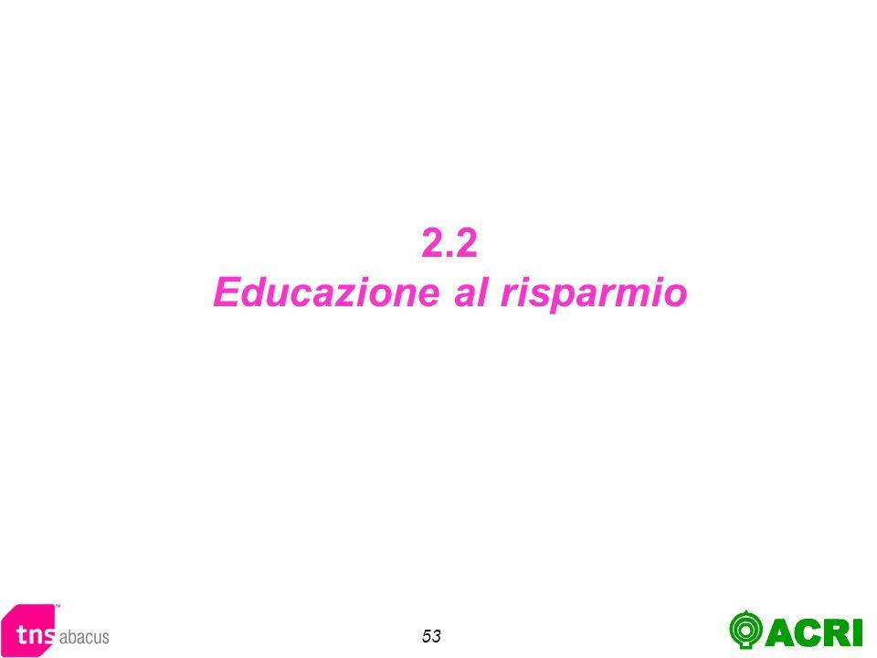 53 2.2 Educazione al risparmio