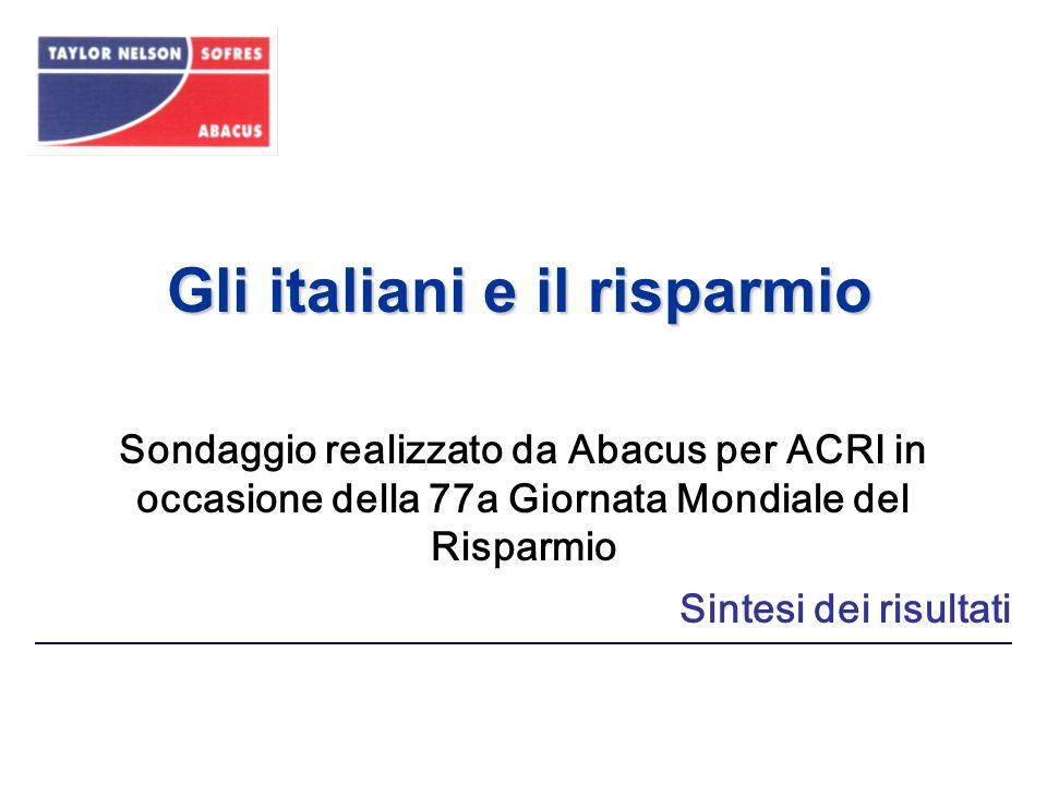 Gli italiani e il risparmio Sintesi dei risultati Sondaggio realizzato da Abacus per ACRI in occasione della 77a Giornata Mondiale del Risparmio