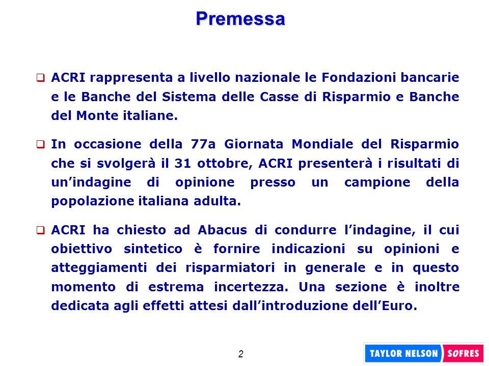 2 Premessa ACRI rappresenta a livello nazionale le Fondazioni bancarie e le Banche del Sistema delle Casse di Risparmio e Banche del Monte italiane. I