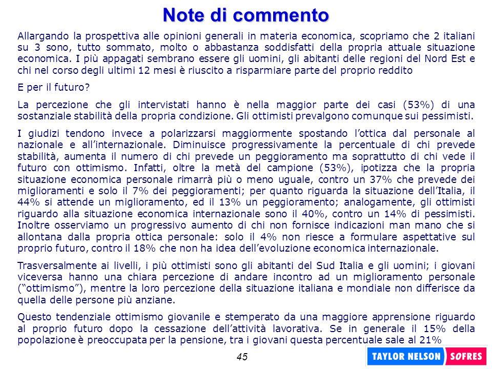 45 Note di commento Allargando la prospettiva alle opinioni generali in materia economica, scopriamo che 2 italiani su 3 sono, tutto sommato, molto o