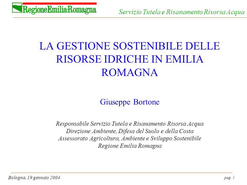 pag. 72 Bologna, 19 gennaio 2004 Servizio Tutela e Risanamento Risorsa Acqua Groundwater quality