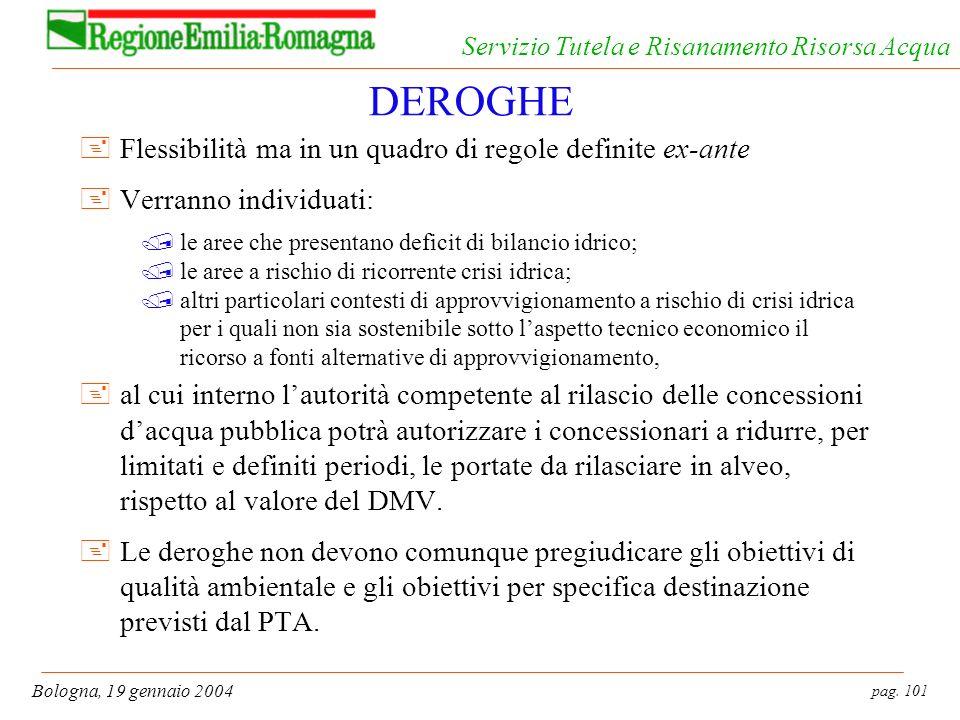 pag. 101 Bologna, 19 gennaio 2004 Servizio Tutela e Risanamento Risorsa Acqua DEROGHE +Flessibilità ma in un quadro di regole definite ex-ante +Verran