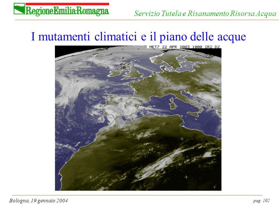pag. 102 Bologna, 19 gennaio 2004 Servizio Tutela e Risanamento Risorsa Acqua I mutamenti climatici e il piano delle acque