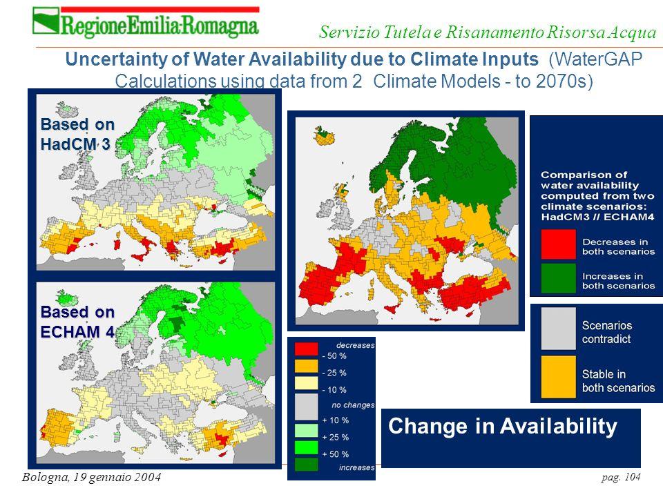 pag. 104 Bologna, 19 gennaio 2004 Servizio Tutela e Risanamento Risorsa Acqua Uncertainty of Water Availability due to Climate Inputs (WaterGAP Calcul