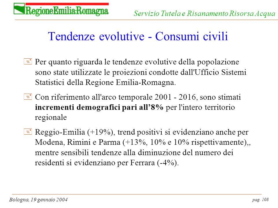 pag. 108 Bologna, 19 gennaio 2004 Servizio Tutela e Risanamento Risorsa Acqua Tendenze evolutive - Consumi civili +Per quanto riguarda le tendenze evo
