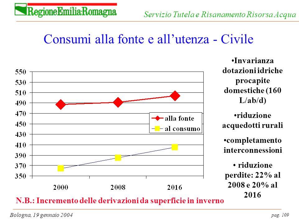 pag. 109 Bologna, 19 gennaio 2004 Servizio Tutela e Risanamento Risorsa Acqua Consumi alla fonte e allutenza - Civile Invarianza dotazioni idriche pro