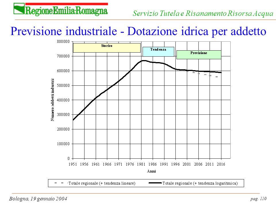 pag. 110 Bologna, 19 gennaio 2004 Servizio Tutela e Risanamento Risorsa Acqua Previsione industriale - Dotazione idrica per addetto