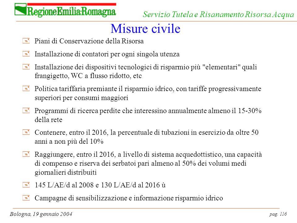 pag. 116 Bologna, 19 gennaio 2004 Servizio Tutela e Risanamento Risorsa Acqua Misure civile +Piani di Conservazione della Risorsa +Installazione di co