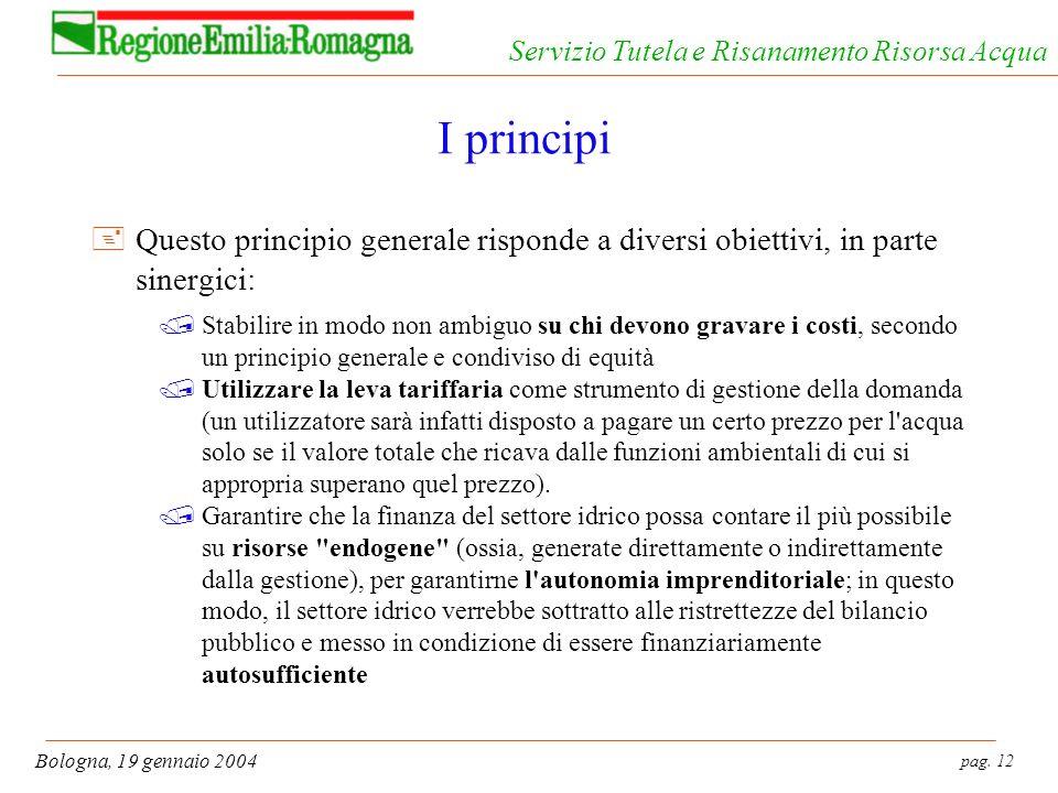 pag. 12 Bologna, 19 gennaio 2004 Servizio Tutela e Risanamento Risorsa Acqua I principi +Questo principio generale risponde a diversi obiettivi, in pa