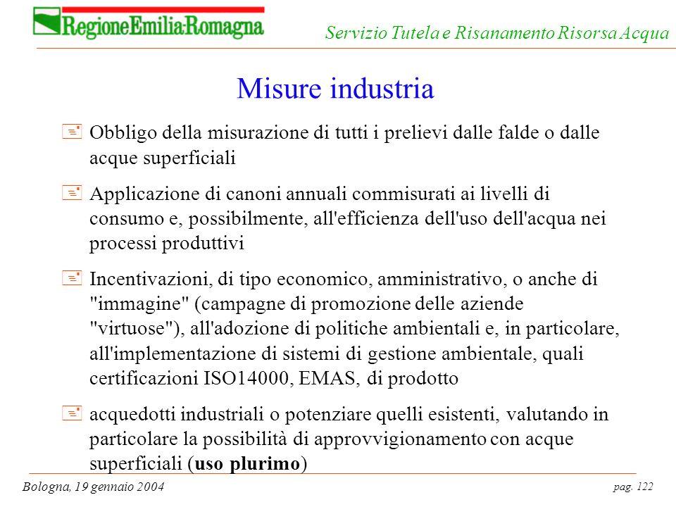 pag. 122 Bologna, 19 gennaio 2004 Servizio Tutela e Risanamento Risorsa Acqua Misure industria +Obbligo della misurazione di tutti i prelievi dalle fa