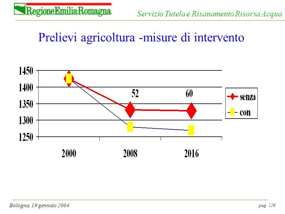 pag. 126 Bologna, 19 gennaio 2004 Servizio Tutela e Risanamento Risorsa Acqua Prelievi agricoltura -misure di intervento