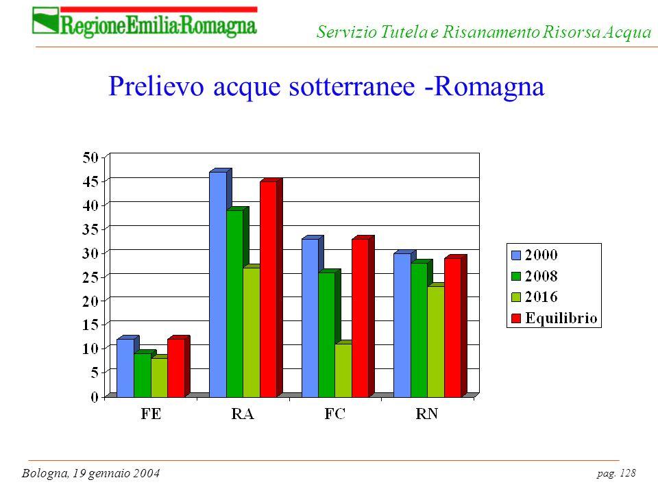 pag. 128 Bologna, 19 gennaio 2004 Servizio Tutela e Risanamento Risorsa Acqua Prelievo acque sotterranee -Romagna