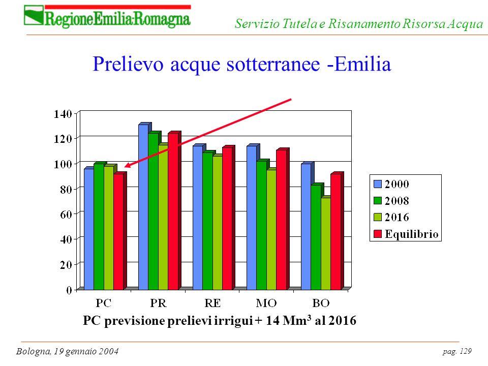 pag. 129 Bologna, 19 gennaio 2004 Servizio Tutela e Risanamento Risorsa Acqua Prelievo acque sotterranee -Emilia PC previsione prelievi irrigui + 14 M