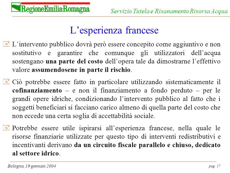 pag. 17 Bologna, 19 gennaio 2004 Servizio Tutela e Risanamento Risorsa Acqua Lesperienza francese +Lintervento pubblico dovrà però essere concepito co