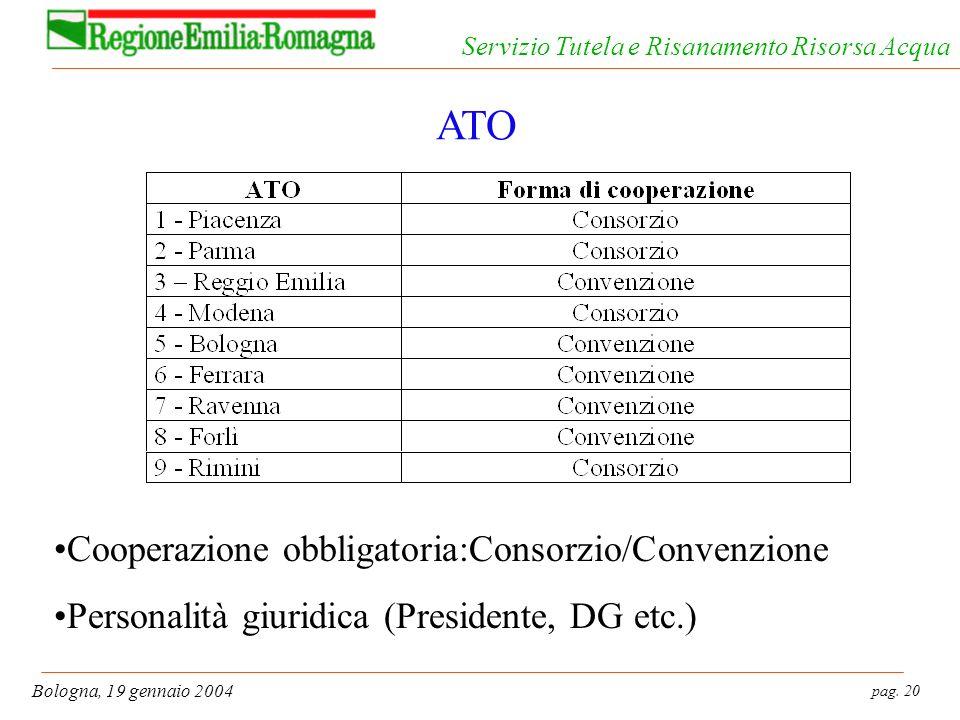 pag. 20 Bologna, 19 gennaio 2004 Servizio Tutela e Risanamento Risorsa Acqua ATO Cooperazione obbligatoria:Consorzio/Convenzione Personalità giuridica