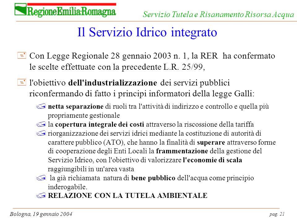 pag. 21 Bologna, 19 gennaio 2004 Servizio Tutela e Risanamento Risorsa Acqua Il Servizio Idrico integrato +Con Legge Regionale 28 gennaio 2003 n. 1, l