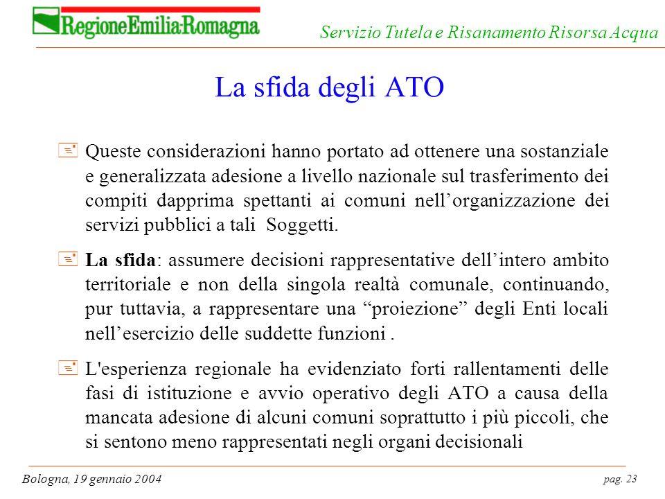 pag. 23 Bologna, 19 gennaio 2004 Servizio Tutela e Risanamento Risorsa Acqua La sfida degli ATO +Queste considerazioni hanno portato ad ottenere una s