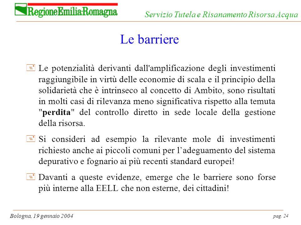 pag. 24 Bologna, 19 gennaio 2004 Servizio Tutela e Risanamento Risorsa Acqua Le barriere +Le potenzialità derivanti dall'amplificazione degli investim