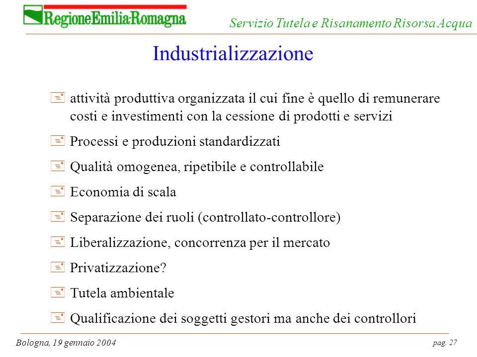 pag. 27 Bologna, 19 gennaio 2004 Servizio Tutela e Risanamento Risorsa Acqua Industrializzazione +attività produttiva organizzata il cui fine è quello