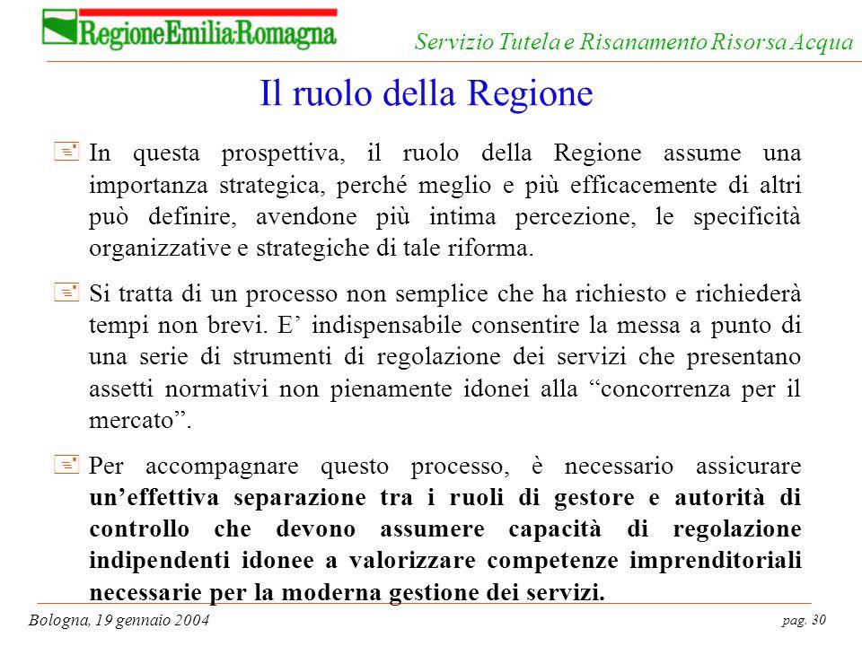 pag. 30 Bologna, 19 gennaio 2004 Servizio Tutela e Risanamento Risorsa Acqua Il ruolo della Regione +In questa prospettiva, il ruolo della Regione ass