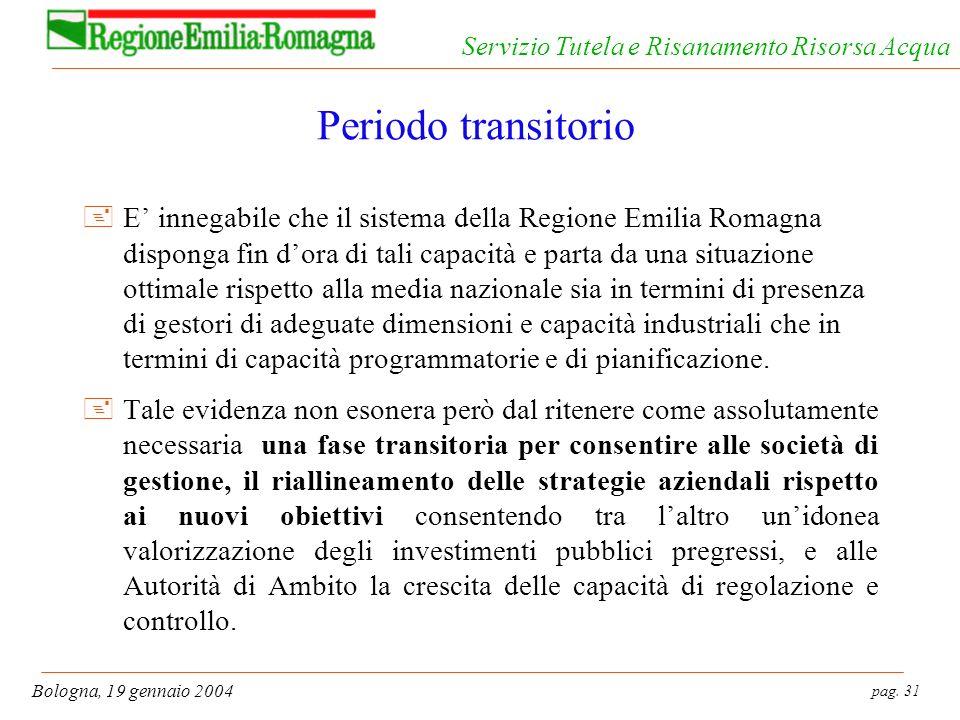 pag. 31 Bologna, 19 gennaio 2004 Servizio Tutela e Risanamento Risorsa Acqua Periodo transitorio +E innegabile che il sistema della Regione Emilia Rom